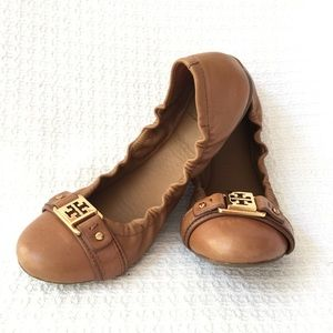 Tory Burch Tan Brown Ballet-like Flats